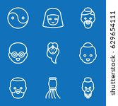 set of 9 oriental outline icons ... | Shutterstock .eps vector #629654111