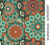 seamless mandala pattern for...   Shutterstock .eps vector #629655347