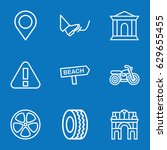 set of 9 road outline icons... | Shutterstock .eps vector #629655455