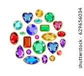 set of realistic jewels.... | Shutterstock .eps vector #629656034