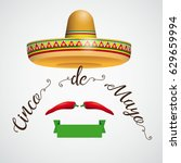 mexican sombrero with chili on... | Shutterstock .eps vector #629659994