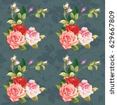 seamless floral pattern three...   Shutterstock .eps vector #629667809