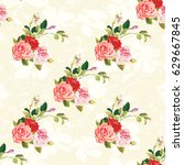 seamless floral pattern three...   Shutterstock .eps vector #629667845