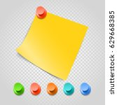 color pins and paperclip... | Shutterstock .eps vector #629668385
