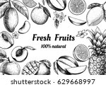 vector frame with fruits and...   Shutterstock .eps vector #629668997