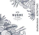 sushi restaurant menu design... | Shutterstock .eps vector #629672465