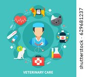 pet care concept with vet and... | Shutterstock .eps vector #629681237