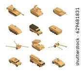military vehicles isometric... | Shutterstock .eps vector #629681831