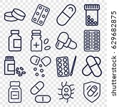 Pill Icons Set. Set Of 16 Pill...
