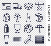 packaging icons set. set of 16... | Shutterstock .eps vector #629684765