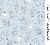 seamless pattern with leaves... | Shutterstock .eps vector #629684951