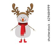 silhouette of snowman with red... | Shutterstock .eps vector #629684999