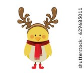 silhouette christmas of chicken ... | Shutterstock .eps vector #629685011