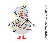 silhouette of snowman with red... | Shutterstock .eps vector #629685071