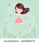 cute girl vector.children... | Shutterstock .eps vector #629686571