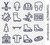 winter icons set. set of 16... | Shutterstock .eps vector #629686931