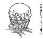 sketch of wheat bakery basket... | Shutterstock .eps vector #629689391