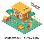 kindergarten outdoor isometric... | Shutterstock .eps vector #629691587