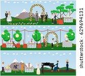 vector set of wedding posters ... | Shutterstock .eps vector #629694131