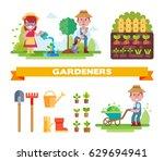 couple of gardeners vector set. ... | Shutterstock .eps vector #629694941