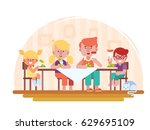 family dinner vector... | Shutterstock .eps vector #629695109
