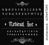 medieval gothic font   white... | Shutterstock .eps vector #629697095