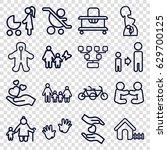 family icons set. set of 16... | Shutterstock .eps vector #629700125