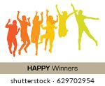 happy winners | Shutterstock .eps vector #629702954