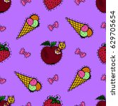 kids  cartoon seamless pattern. ... | Shutterstock . vector #629705654