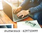 close up hand of businessman... | Shutterstock . vector #629710499
