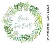 wedding wreath. green leaves....   Shutterstock .eps vector #629713325