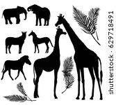 animals silhouette  giraffe ... | Shutterstock .eps vector #629718491