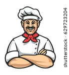 smiling chef in arms crossed... | Shutterstock .eps vector #629723204