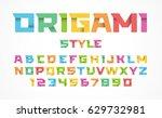 origami style font. alphabet... | Shutterstock .eps vector #629732981