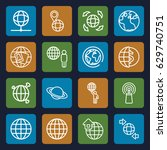 globe icons set. set of 16... | Shutterstock .eps vector #629740751