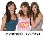 three young smiling female... | Shutterstock . vector #62974525