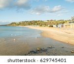 colourful bathing boxes on... | Shutterstock . vector #629745401