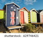 colourful bathing boxes on...   Shutterstock . vector #629746421