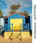 colourful bathing boxes on... | Shutterstock . vector #629747081