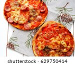 small homemade pizza with... | Shutterstock . vector #629750414