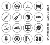 set of 16 creative filled icons ... | Shutterstock .eps vector #629761835