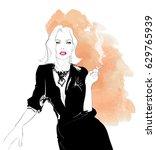 seductive woman smoking... | Shutterstock .eps vector #629765939
