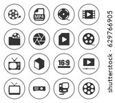 set of 16 movie filled icons... | Shutterstock .eps vector #629766905