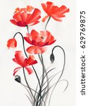 Watercolor Painting Of Red...