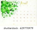 beautiful watercolor calendar... | Shutterstock . vector #629770979