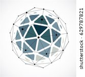 abstract 3d faceted figure with ... | Shutterstock .eps vector #629787821