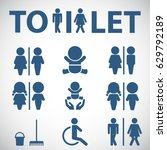 wc icon. toilet sign. vector ... | Shutterstock .eps vector #629792189
