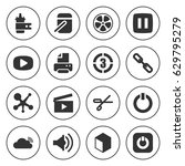 set of 16 shiny filled icons... | Shutterstock .eps vector #629795279
