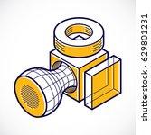 vector abstract 3d geometric... | Shutterstock .eps vector #629801231