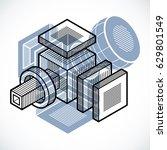 engineering abstract shape  3d... | Shutterstock .eps vector #629801549